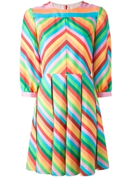 Valentino '1973' Chevron Striped Dress Green