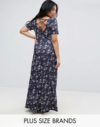 Club L Plus Maxi Dress With Lace Up Back Awaiting Print Multi