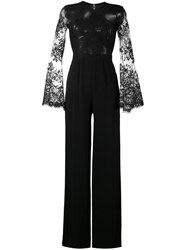Zuhair Murad Lace Panelled Jumpsuit Women Silk 42 Black