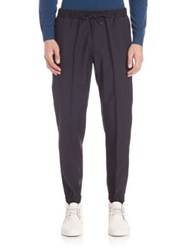 Z Zegna Tuxedo Drawstring Sweatpants Navy Solid