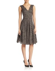 Vera Wang Lace V Neck Fit And Flare Dress Pewter