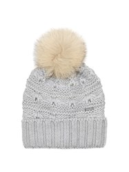 Woolrich Serenity Fur Pompom Wool Beanie Hat Light Grey