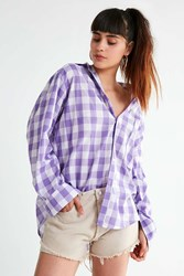 House Of Sunny 802 Gingham Button Down Top Purple