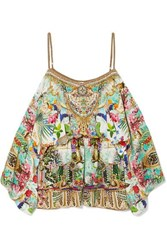 Camilla Off The Shoulder Embellished Silk Crepe De Chine Playsuit Mint
