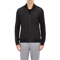 Vince Tech Fabric And Waffle Knit Sweater Jacket Charcoal