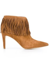 Sam Edelman Fringed Ankle Boots Brown