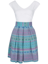 Almari Contrast Check Jacquard Dress Multi