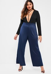 Missguided Plus Size Navy Satin Wide Leg Trousers