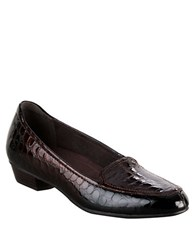 Clarks Timeless Low Heel Loafers Brown Patent Croco