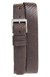 John Varvatos Men's Star Usa Textured Leather Belt Chocolate
