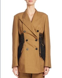 Dries Van Noten Baden Fringed Waist Jacket Camel