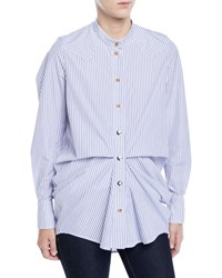 Victoria Tomas Gathered Striped High Low Button Down Shirt Blue Pattern