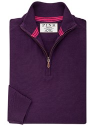 Thomas Pink Geoffrey Merino Zip Neck Jumper Deep Purple