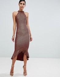 Ax Paris Halterneck Lace Hi Low Midi Dress Gold