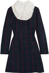 Miu Miu Guipure Lace Paneled Checked Wool Mini Dress Navy
