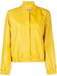 Drome Smocked Trim Cropped Jacket Yellow