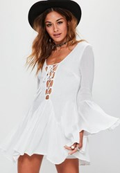 Missguided Tall Exclusive White Cheesecloth Lace Up Frill Dress