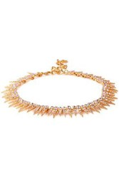 Oscar De La Renta Gold Tone Crystal Necklace Rose Gold
