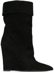 Saint Laurent Wedge Heel Boots Black
