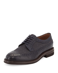 Brunello Cucinelli Wing Tip Lace Up Oxford Navy Anthracite