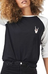 Topshop Women's By Tee And Cake Rock Hand Baseball Tee