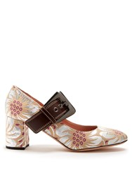 Rochas Mary Jane Floral Brocade Pumps Silver Multi
