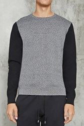 Forever 21 Marled Contrast Sleeve Sweater Grey Black