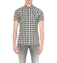 Diesel S Zule Short Plaid Cotton Blend Shirt Black
