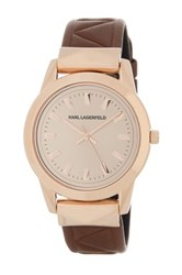 Karl Lagerfeld Women's Labelle Stud Leather Watch Pink