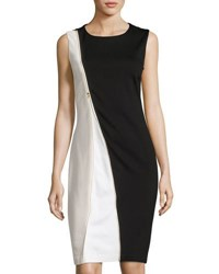 Carmen Carmen Marc Valvo Sleeveless Zip Front Colorblock Sheath Dress Black Silver
