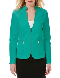 Laundry By Shelli Segal Cotton Blend Zip Blazer Green