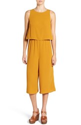 Leith Women's Crop Popover Jumpsuit Brown Buckthorn