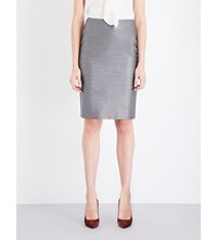 Max Mara Leale Wool And Silk Blend Pencil Skirt Grey
