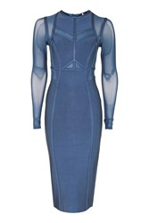 Topshop Long Sleeve Panel Mesh Midi Dress Blue