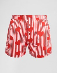 Asos Valentines Woven Boxers With Heart Print Red