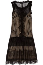 Marissa Webb Avery Ruffled Lace Trimmed Tulle And Velvet Mini Dress Black