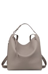 Allsaints Kita Convertible Leather Backpack Grey Taupe Grey