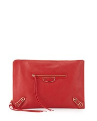 Balenciaga Metallic Edge Flat Zip Pouch Bag Red