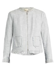 Rebecca Taylor Fringed Collarless Cotton Blend Jacket Light Grey
