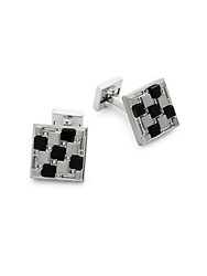 Ike By Ike Behar Checkered Cuff Links Black