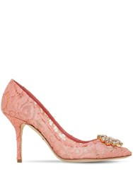 Dolce And Gabbana 90Mm Bellucci Crystals Lace Pumps Peach Pink