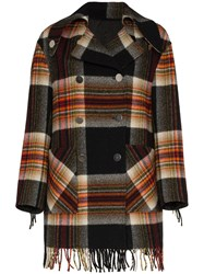 Calvin Klein 205W39nyc Checked Coat With Fringe Trims Multicolour