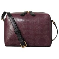 Orla Kiely Punch Tall Flower Leather Abbey Cross Body Bag Plum