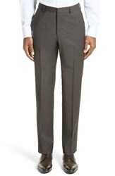 Z Zegna Men's Flat Front Houndstooth Wool Trousers Medium Brown Solid