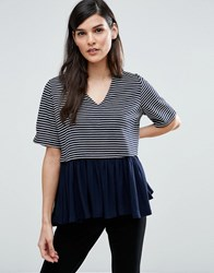 Asos Top With V Neck In Stripe With Ruffle Hem Navy White Black