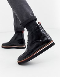 Kg By Kurt Geiger Leather Brogue Lace Up Boot In Black
