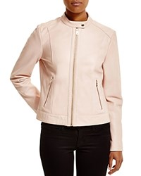Cole Haan Stand Collar Racer Leather Jacket Canyon Rose