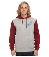 Brixton Wilson Hooded Fleece Heather Grey Burgundy Men's Sweatshirt Gray