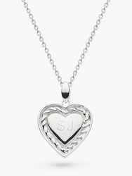 Kit Heath Personalised Sterling Silver Twist Heart Pendant Necklace Silver