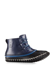 Sorel Out And About Patent Leather And Rubber Duck Booties Navy Blue